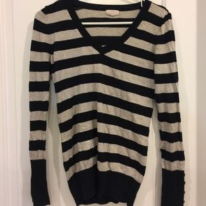 Ambiance Striped V Neck Sweater Size L